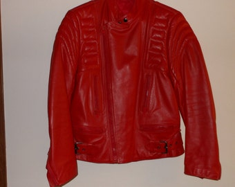 Hot Red Leather Motorcycle Jacket FREE SHIPPING