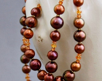 Akyra- Chocolate Pearl Strand Necklace, orange sapphire gemstone beads, iridescent pearl strand, jewelry for her, pearl fashion, gift idea