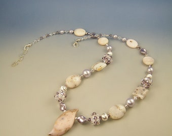 Sweet Violet, rose opal and Swarovski necklace