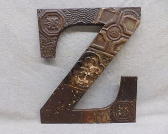 "Tin Ceiling Wrapped 16"" Letter ""Z"" Patchwork Reclaimed Metal Burnished Rust Mosaic Wall Hanging 77-17R"