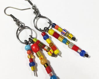 Bohemian Bead Earrings #3, Boho Hippie Earrings, Free Domestic Shipping