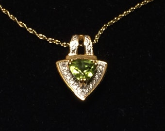 "Trillion-cut Peridot Set in 14k Gold-plated Pendant; 18"" Chain"