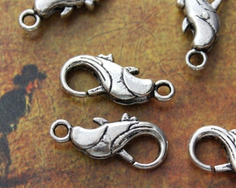5 Lobster Clasp antique silver tone