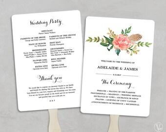 Printable Wedding Program Template, Fan Wedding Programs, DIY Wedding Programs, Wedding Fans, Editable text, 5x7, Blush Peony, VW12