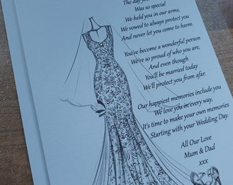 Handmade Personalised A5 To Daughter On Her Wedding Day Card Hand Drawn Design