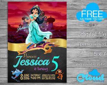 Princess Jasmine Birthday Invitation, Aladdin Birthday Invitation, Jasmine Invites, Princess Birthday Invitation, Birthday Printables