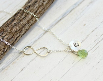 Sterling Silver Infinity Birthstone Necklace... You Choose The Initial And Stone
