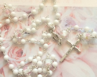 First Communion Rosary, White Jade, Confirmations, Rosary for Girls, Goddaughter Gift, Christenings, Baptism, Weddings, Bridesmaid Gift