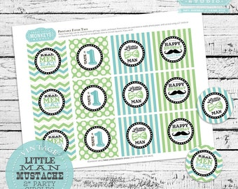"Personalized Little Man 2"" Party Circles PLUS Favor Tags"