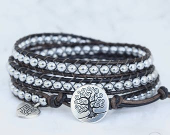 Silver Wrap Bracelet, Beaded Leather Wrap, Wrap Bracelet, Silver Beaded Wrap, Silver Tree of Life Button, Boho Wrap Bracelet