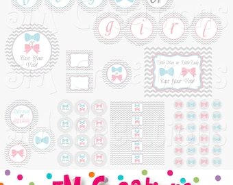 Gender Reveal Party - Baby Shower Decorations - Little Man Little Lady Printables  - Boy or Girl Banner - INSTANT DOWNLOAD Pdf