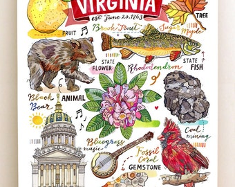 West Virginia Print, State Symbols, Illustration, Map, Charleston, Bluegrass, the Mountain State.