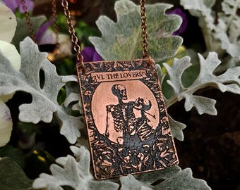 Tarot Card Necklace, The Lovers as skeletons - witch jewelry, occult, skull tarot necklace
