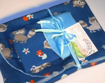 Extra Large - Raccoon Flannel Receiving Blanket and Burpie Set;  Raccoon Flannel Blanket Set; Flannel Receiving Blankets