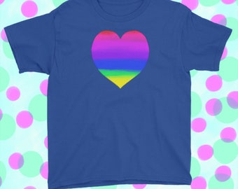 Rainbow Heart T-shirt. Royal Blue.