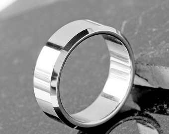 Mens Ring, Men's Plain Band Ring, Mens Wedding Band, Men's Jewellery, Plain Men's Band, Gift For Him, Steel Mens Ring, Engraved Mens ring