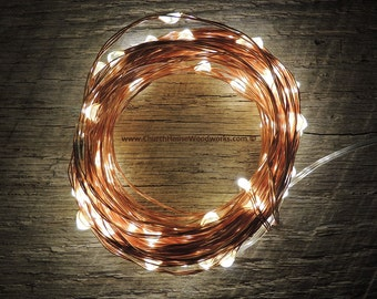 100 LED 33 ft Battery Operated Fairy Lights, 10M 33 feet,  Rustic Wedding Decor, Room Decor, Copper Wire Strand Warm White
