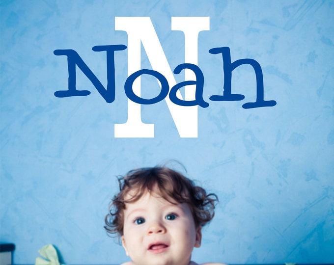Custom Boy Name Decal // Custom Monogram // Boys Bedroom Decal // Nursery Decal // Monogram Letter // Boys Wall Decal