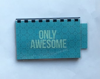 Handmade Turquoise 'Only Awesome' Blank Recipe book for Personal Recipes