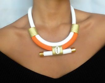 Orange Maldiva Necklace - necklaces for women - gift women - gift for her - ethnic necklace - rope necklace - christmas gift for her
