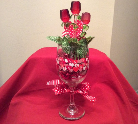 valentine arrangement in wine glass valentine gift valentines day decoration sweetheart rose display happy valentines day - Valentine Wine Glasses