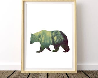 Forest Print, Bear Poster, Forest Photography, Nature Prints, Woodland Animals, Forest Animals, Wolf Print, Printable Art, Boy Nursery