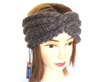 Taupe headband  - knit turban - beige knitted hair accessory - Irish knitwear - chunky knit headband - 100% wool earwarmer - birthday gift