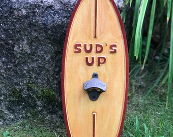 Sud's Up Surfboard Bottle Opener Wood Carved- surfing - tiki bar decor - beer bottle opener