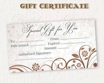 Gift Certificate Printable,Gift Card,Printable Gift Certificate,Gift Certificate,Digital Gift Certificate,Gift Certificate Template,Floral