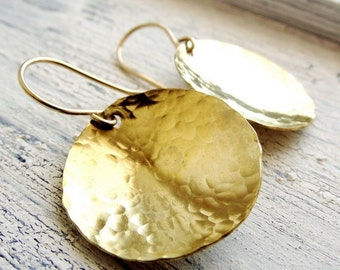 Hammered Brass Earrings, Mixed Metal, Round Golden Hoop Brass Dangles, Gold filled and brass Hoops