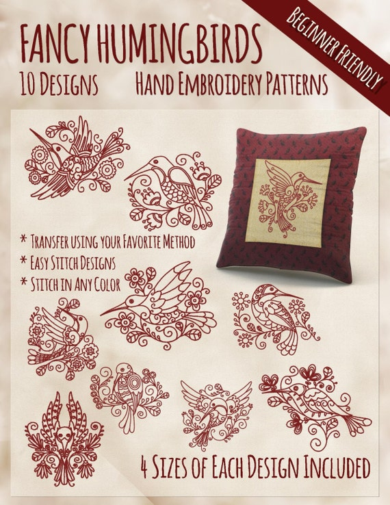Sale Hand Embroidery Patterns Fancy Hummingbirds In 4 Sizes Pdf
