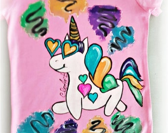 Hand Painted T-Shirt Unicorn,  Cute Unicorn, Kids T-shirt Unicorn,  Girls T-shirt Unicorn,  Pink Unicorns,Hand Painted Blouse Unicorns