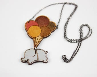 Cute Balloon Elephant Two-Part Necklace Charm - Hand Painted Laser Cut Engraved Wood - Whimsical Unique Animal Lover Artwork Jewelry
