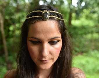 SALE was 121USD - Elven Fairy Pixie Brass Goddess Labradorite Crystal Stone Flower Tiara Crown Head Piece OOAK