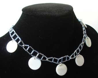 Mother of pearl choker - fashion Jewelry - necklace - Blue White Beads - Gift Idea
