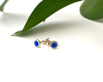 Tiny silver blue enamel stud earrings - Blue earrings - sterling silver blue earrings - Colour stud earrings - Small royal blue ear studs