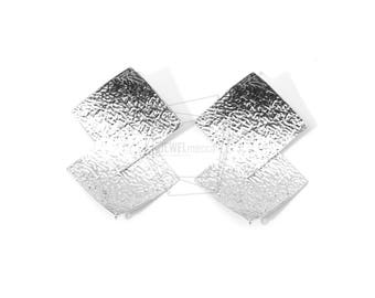 ERG-577-MR/2PCS/Two Rhombus Layered Leather Textured  Post Earring/25mm X 40mm/Matte Rhodium  Plated Over Brass, 925 Silver Post