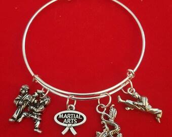 Silver Karate Themed Charm Bracelet