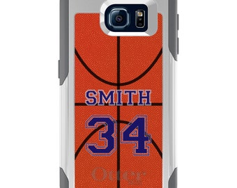 OtterBox Commuter for Galaxy S4 S5 S6 S7 S8 S8+ S9 S9+ / Note 4 5 8 - CUSTOM Monogram Name Initials - Basketball Purple Number Name