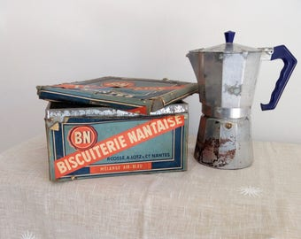 French Biscuit Tin, BN, Rustic Kitchen Decor, Tin Collectibles