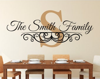 Family Name Wall Decal - Personalized Family Monogram Decal - Living Room Decor - Established Date Vinyl Wall Decal - Monogram Vinyl Decal