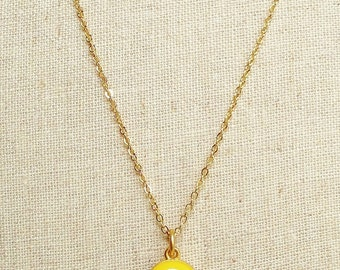 Canary Yellow  Necklace, Round Shaped Yellow Resin Necklace, Yellow Resin Circle Necklace, Gold Chain Yellow Necklace, Retro Necklace
