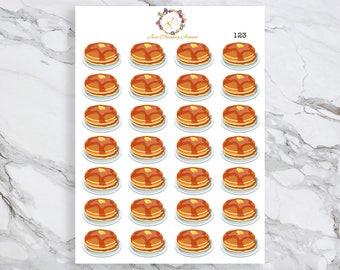Pancake Stickers, Food Stickers, Breakfast Stickers, for use with  Erin Condren, Happy Planner