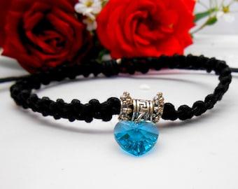 Blue swarovski - adjustable black cord element Crystal heart charm bracelet