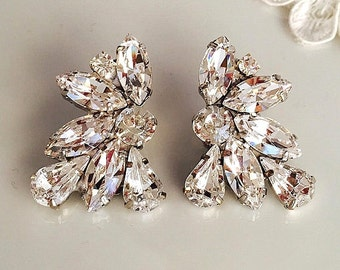 Wedding Vintage Style crystal Earrings, Bridal Clip On earrings, statement sparkly earrings, Wedding swarovski earrings, bridesmaid earrings