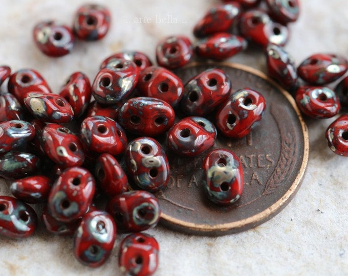 PEPPER HOOTS No. 1 .. NEW 50 Premium Picasso Czech Glass Super Duo Seed Beads 5x2.5mm (6381-50)