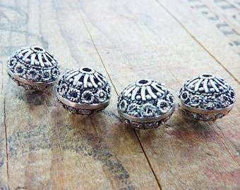 Metal Bead Silver Filigree Beads Ornate Metal Beads (2) IS425