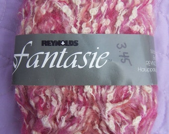 Reynolds Fantasie, Pink and white boucle yarn, Mohair cotton yarn, Pink Mohair, Pink Cotton, Mohair cotton boucle, Pink and white DK yarn