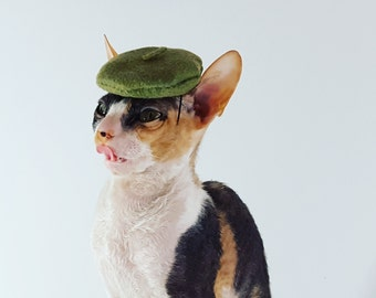 Olive green and multi color choice Pet sized Beret Hat for cats dogs and more