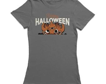 Happy Halloween Tentacles Scary Monster Cartoon Women's Charcoal T-shirt